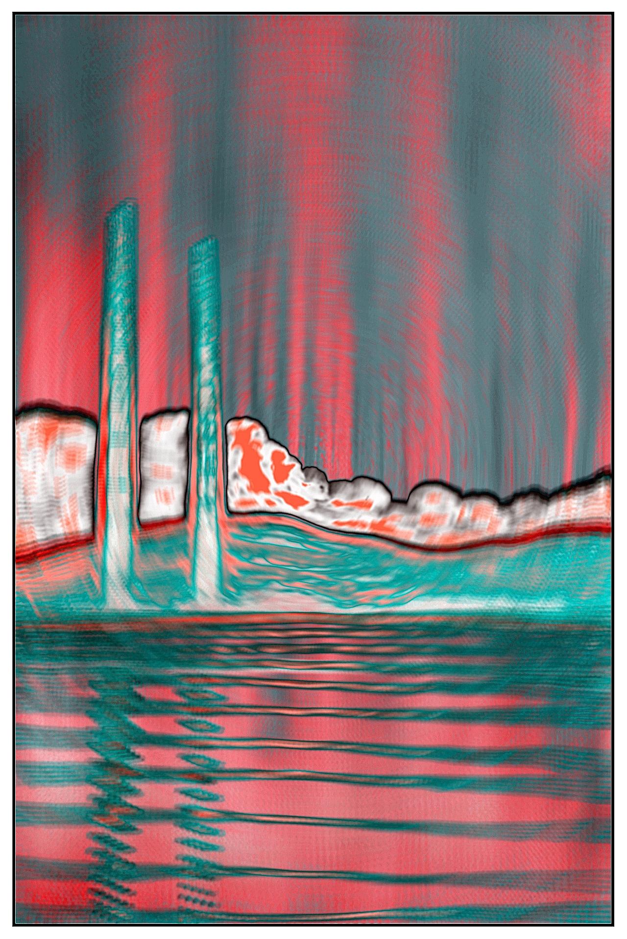 Poolbeg Towers Neon Cloud Pink Swirl by Orfhlaith Egan