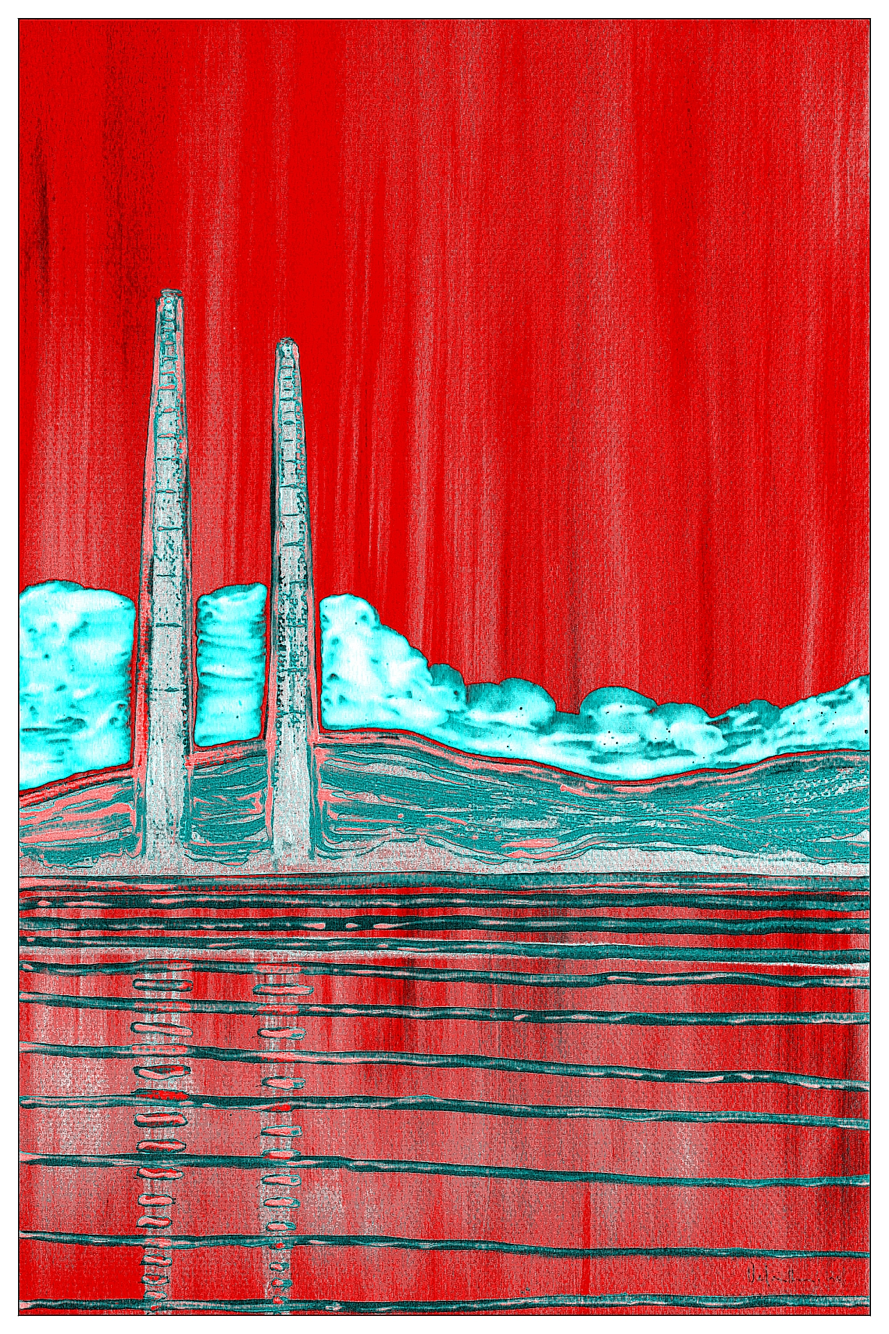 Poolbeg Towers Neon Cloud Red by Orfhlaith Egan