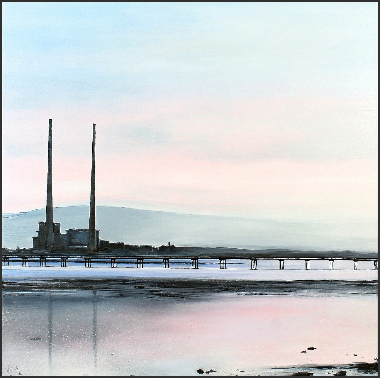 Poolbeg Towers and the Bull Wall wooden bridge by Orfhlaith Egan