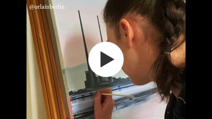 Orfhlaith Egan work in progress acrylic painting Poolbeg Towers & the Bull Wall Wooden Bridge 2021